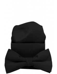 Plain Microfiber Bowtie with Handkerchief Black/Black