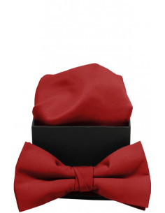 Plain Microfiber Bowtie with Handkerchief Red/Red