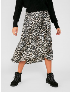 PCKIMI MW MEDI FRILL SKIRT D2D Black ALL OVER LEO PRINT