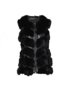 LENA Vest Fox Fur PW/PU Black