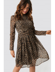 Drap detail chiffon mini dress Leoprint