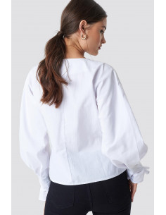 Buttoned Volyme Sleeve Blouse White