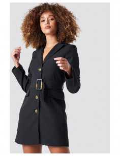 Wide belted blazer dress Black