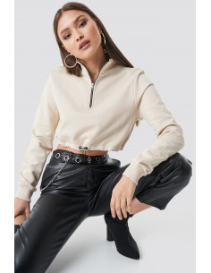 Cropped jersey Sweater begie