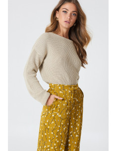 Knitted deep v-neck sweater Beige