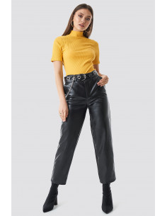 Pu leather belted pants Black
