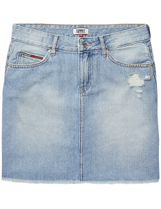 TJW DENIM SKIRT Deep Light Blue Rigid