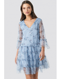Ruffle Mesh Mini Dress Blue