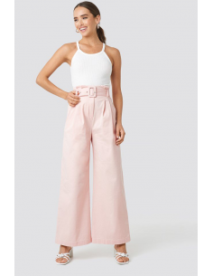 Belted Wide Leg Trousers Pink