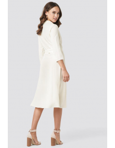 Belted Wrap Midi Dress White