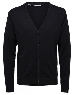 SHDTOWER COT/SILK CARDIGAN NOOS Black