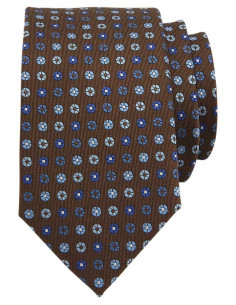 Micropattern Tie Blue/Brown