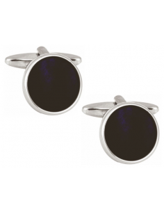 Onyx Round Rhodium Plated Cufflinks