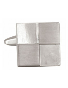 Square Rhodium Plated Cufflinks with Brushed & Shiny Quarters