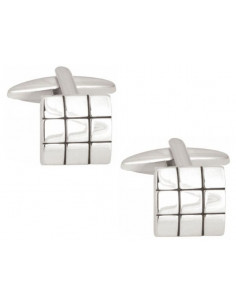 Shiny Square with Black Lines Rhodium Plated Cufflinks