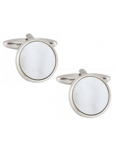 Mother of Pearl Round Rhodium Plated Cufflinks