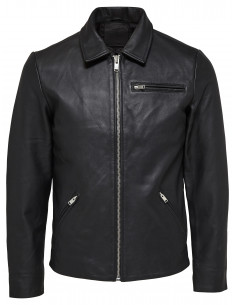 SHNMAX CLASSIC LEATHER JACKET Black