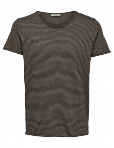 SHNNEWMERCE STRIPE SS O-NECK TEE Walnut