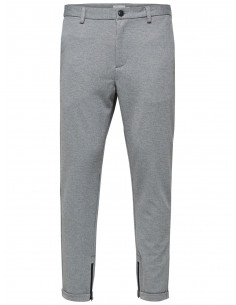 SHXALEX STRUCTURE L.GREY MIX  ZIP PANTS Light Grey Melange