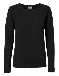VMCARE STRUCTURE LS O-NECK BLOUSE NOOS Black